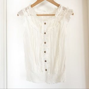 Mine Cotton Blend Ruffle And Lace Sleeveless Top